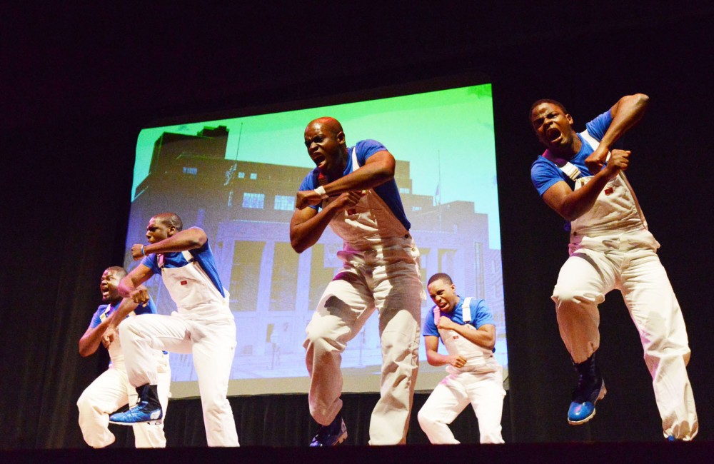 Phi Beta Sigma participates in the Midwest Greek Step Show on Saturday at Ted Mann Concert Hall.