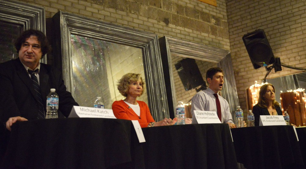 Libertarian Party candidate Michael Katch, incumbent City Council member Diane Hofstede, DFL-endorsed Jacob Fry and Green Party candidate Kristina Gronquist answer questions discussing issues facing Northeast artists and other neighborhood concerns in a debate on Tuesday, Sept. 10, 2013 at the Ritz Theater in Northeast Minneapolis.