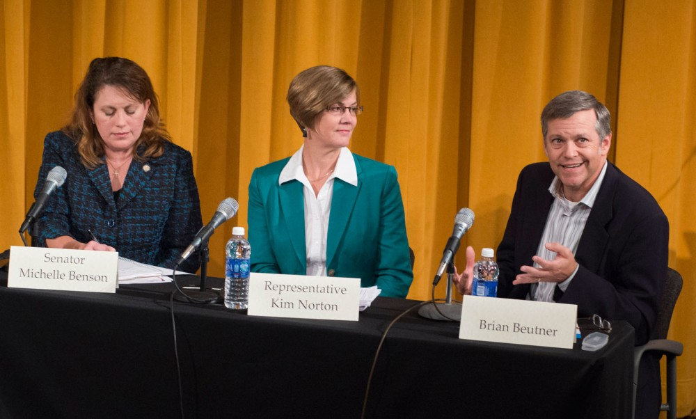 Brian Beutner, far right, chair of the MNsure Board of Directors, speaks about the Affordable Care Act at the Humphrey School at the University of Minnesota on Wednesday, Sept. 4, 2013. This public forum featured national experts and local politicians to discuss how the Affordable Health Care Act will affect Minnesota.