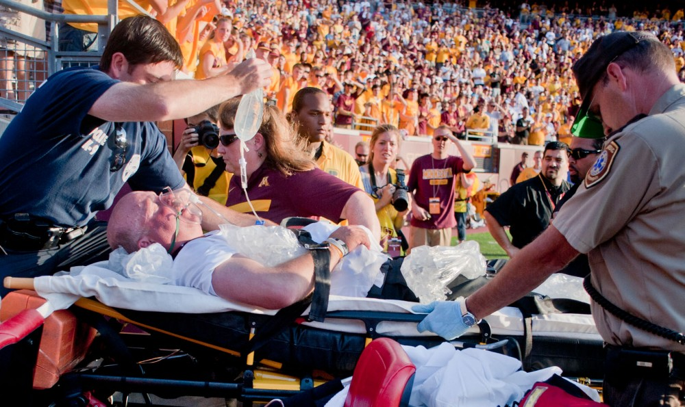 Minnesota head coach Jerry Kill was rushed off the field after collapsing with 20 seconds to go in the fourth quarter on Saturday, Sept. 10, 2011, at TCF Bank Stadium.