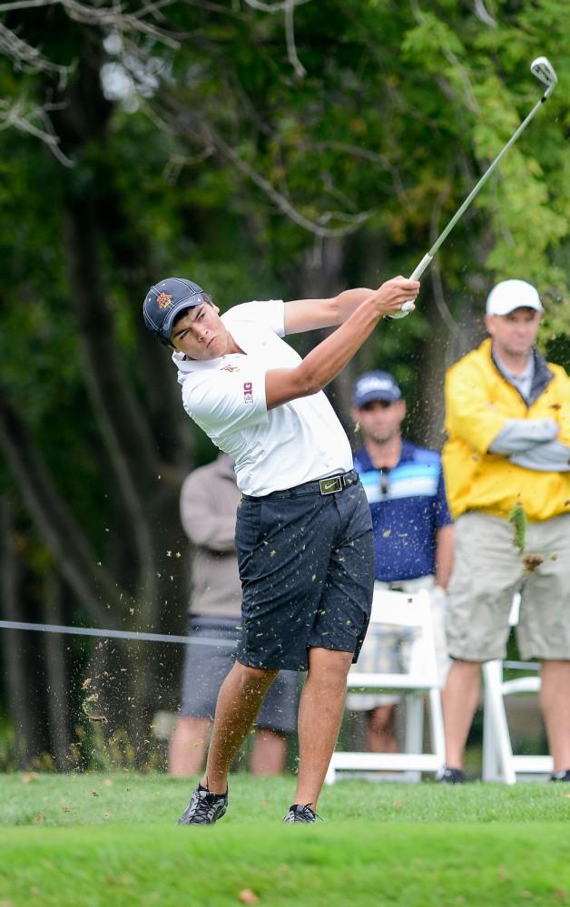 Minnesota's Jose Mendez plays at the season opener Gopher Invitational at Windsong Farm Golf Club on Sunday morning.