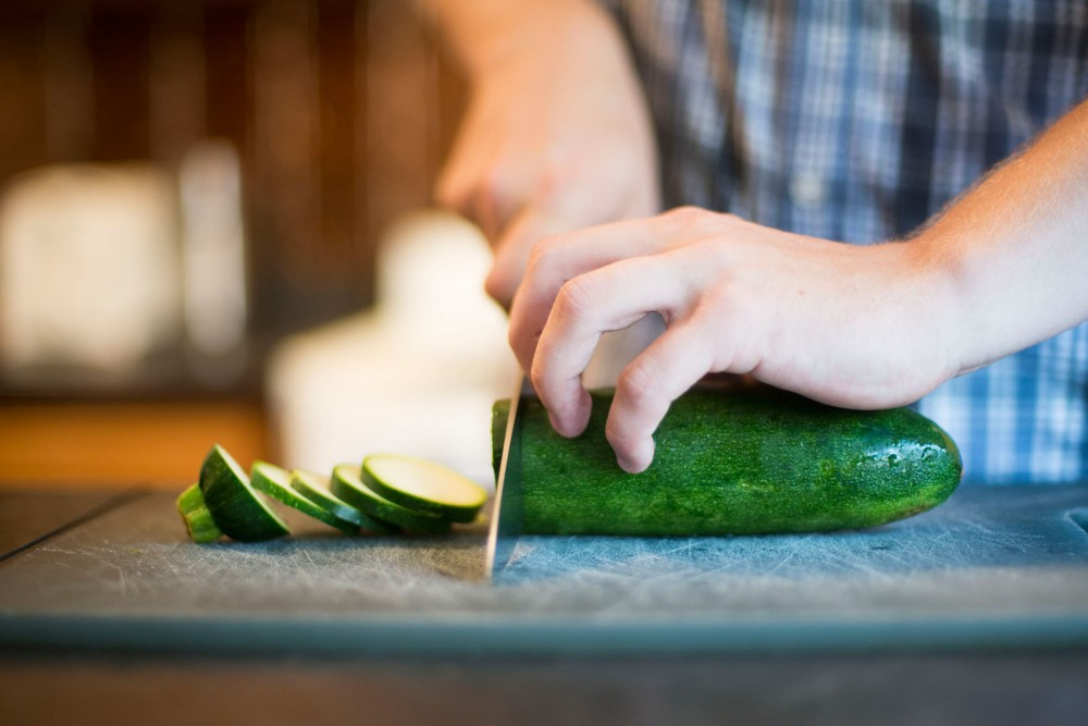 College kitchen focuses on basic knife skills and cooking skills while preparing ratatouille this week.