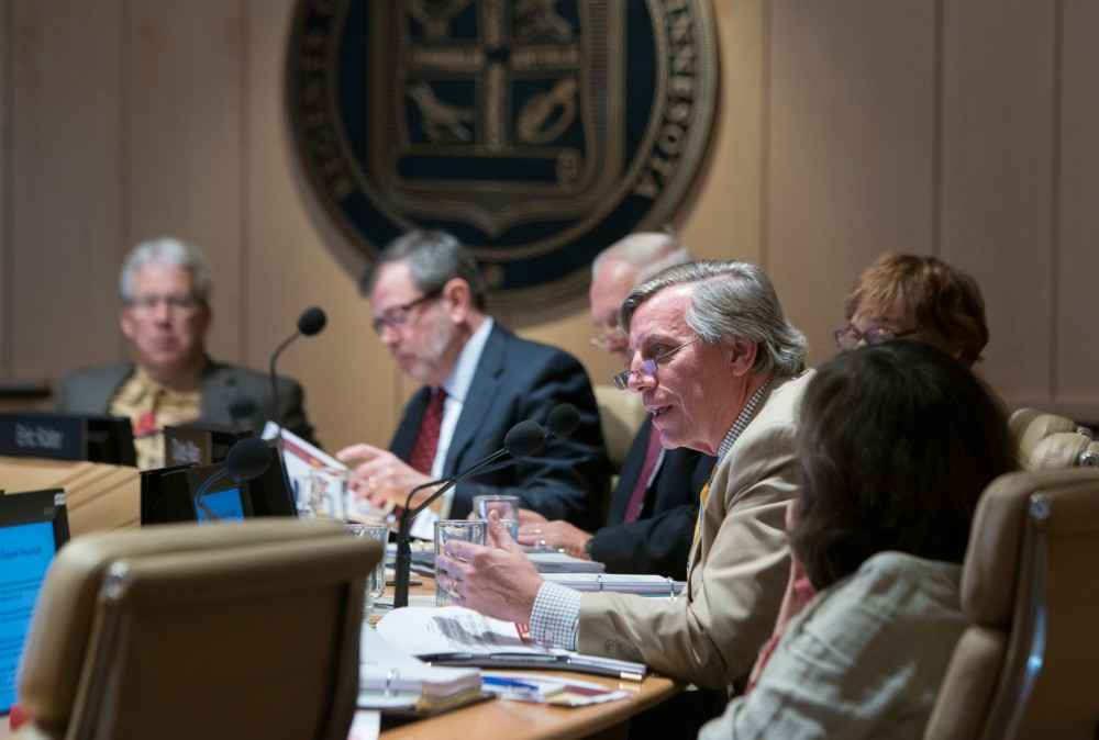 Regent Thomas Devine speaks to the Board of Regents at  on Friday at McNamara Alumni Center.