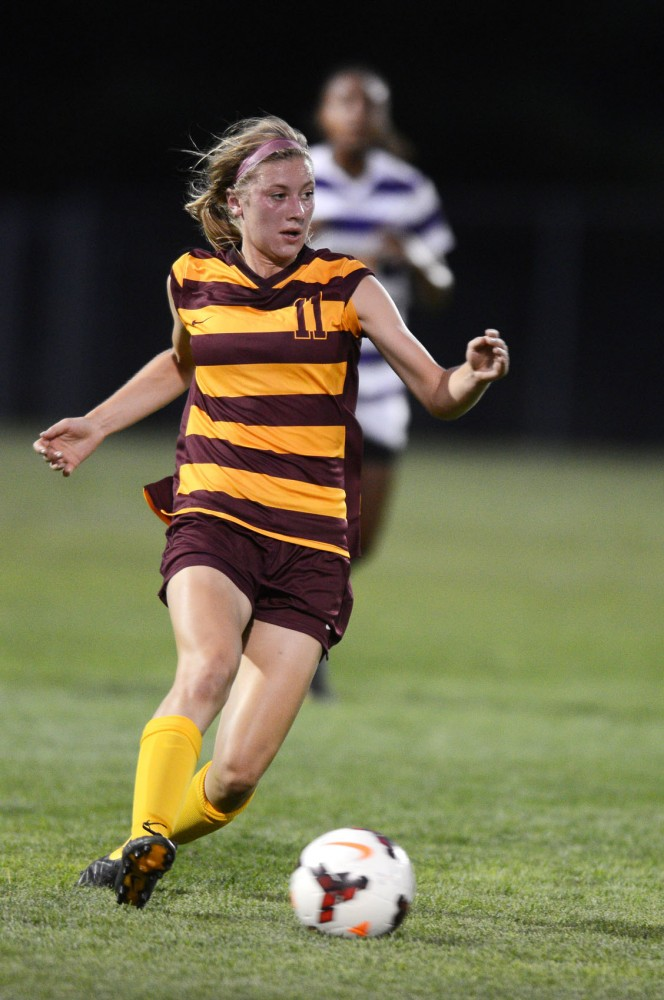 Minnesota midfielder Josee Stiever steals the ball from Louisiana State at Elizabeth Lyle Robbie Stadium. Gophers won 2-1 against the LSU Tigers on Friday, Sept. 6, 2013.
