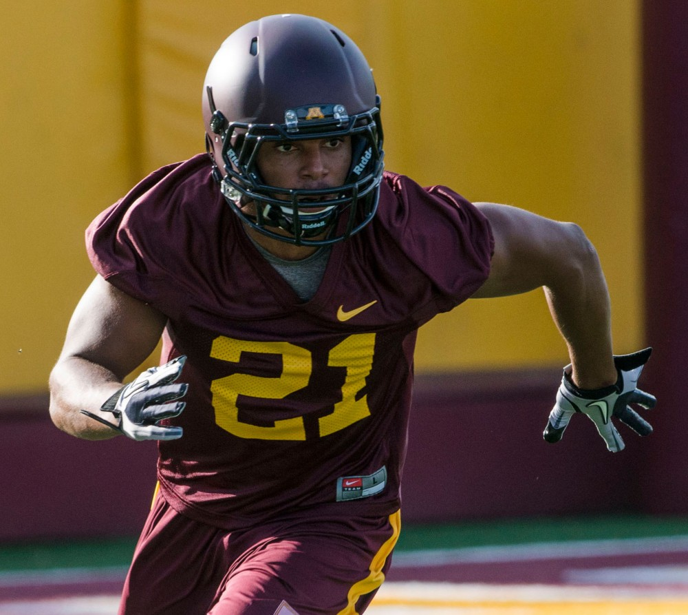 Gophers defensive back Brock Vereen practices Friday, Aug. 2, 2013, at the Gibson-Nagurski Football Complex.