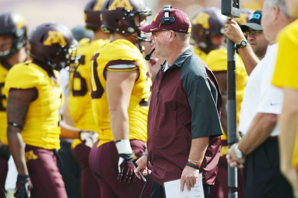 Minnesota head coach Jerry Kill watches on the sidelines in the first half against Western Illinois on Saturday, Sept. 14, 2013, at TCF Bank Stadium.