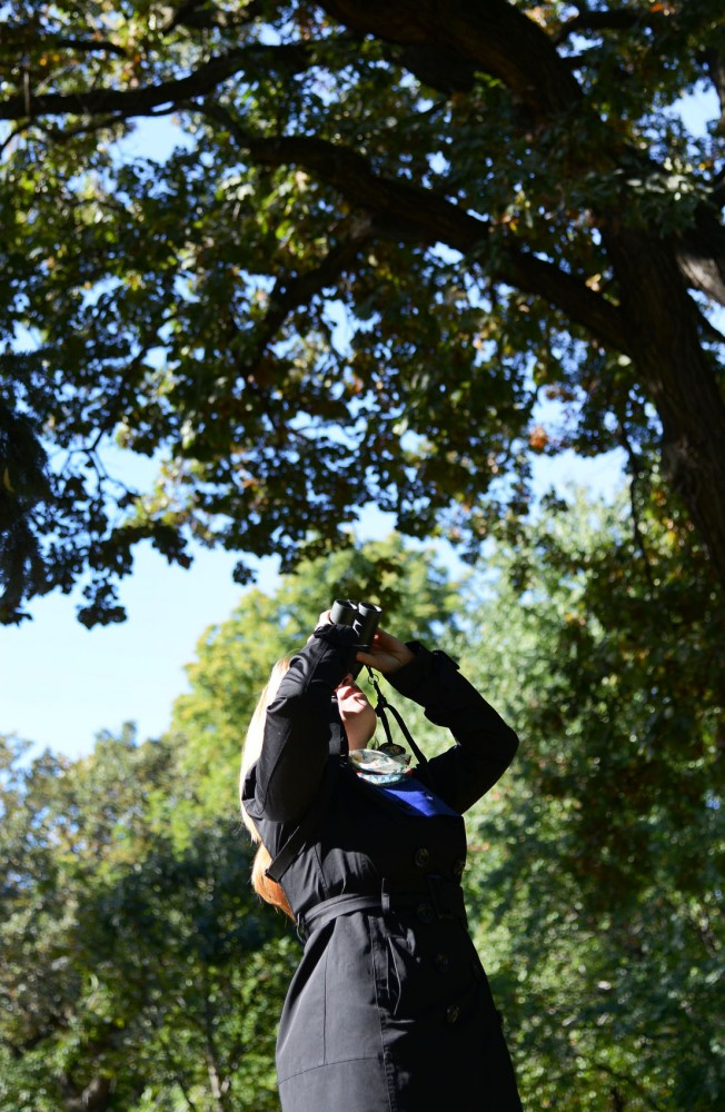 Bird watcher and blogger Sharon Stiteler looks for birds in nearby trees on Sunday, Oct. 13, 2013 outside the Bell Museum.