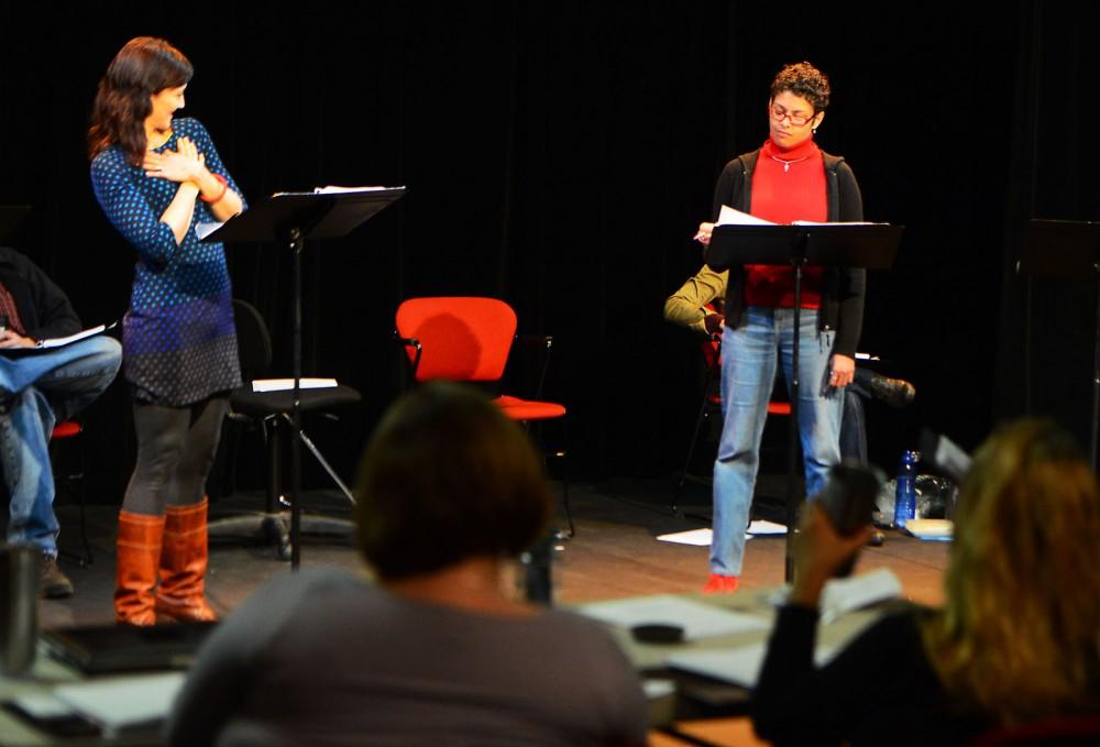 Actors Christina Baldwin and John Middleton perform a reading of Trista Baldwin's play,