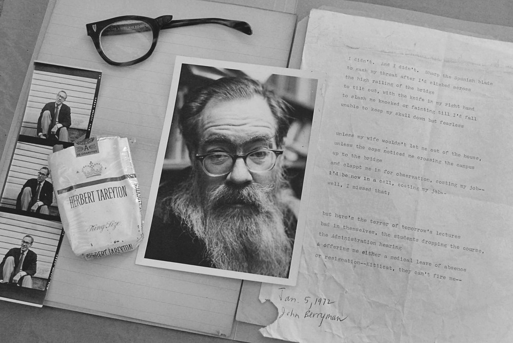 The items that were found with John Berryman after his suicide in the archives at the Elmer L. Andersen Library on West Bank. Berryman, a famed poet and professor at the U of M, published many critically acclaimed and still beloved poems before his suicide in 1972.