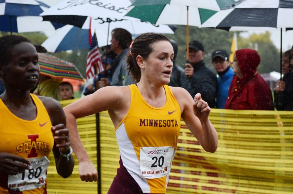 Minnesota senior Katie Moraczewski runs at the Roy Griak Invitational on Saturday, Sept. 28, 2013, at Les Bolstad Golf Course.
