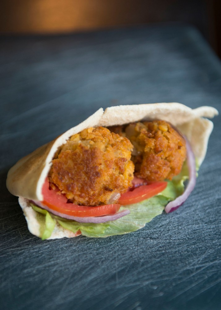 A re-creation of the falafel sandwich from Wally's Falafel and Hummus, one of many favorite dishes from around Dinkytown.
