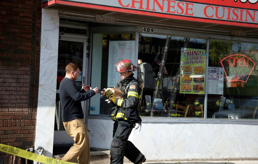 A firefighter hands over a cat rescued from the building to a resident of the apartment that caught on fire on Friday afternoon in Dinkytown.