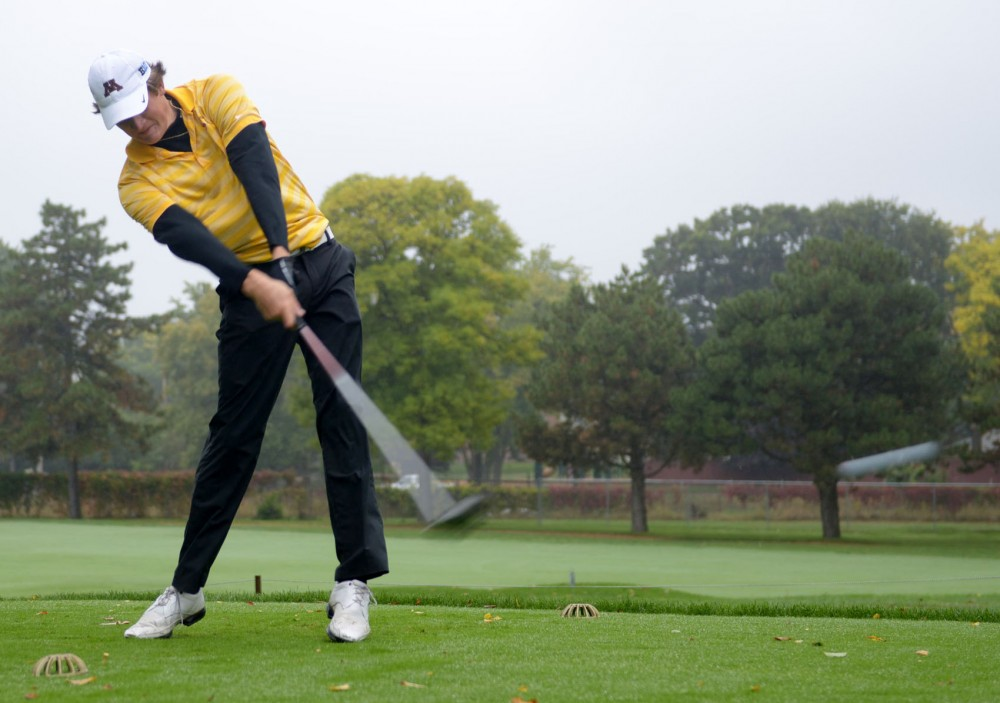 Minnesota senior Alex Gaugert hits a drive down the fairway on Sunday, October 6, 2013 at Edina Country Club.