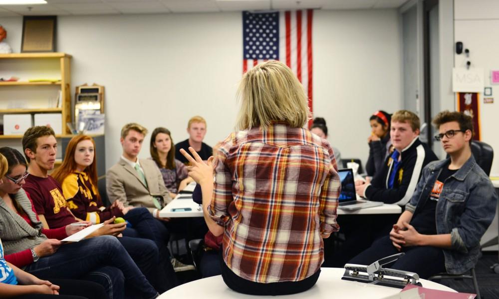 Joelle Stangler leads the Minnesota Student Association Freshman Internship program meeting on Sunday at Coffman Union.