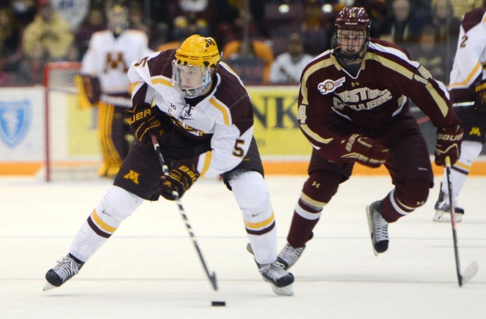 Minnesota defenseman Mike Reilly skates against Boston College at Mariucci Arena on Friday.