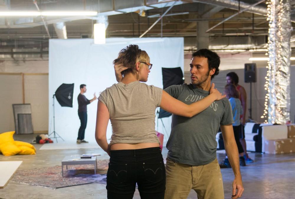 Actors Kristina Fjellman and Derek Lee rehearse on Tuesday for The Sandbox Theatre's