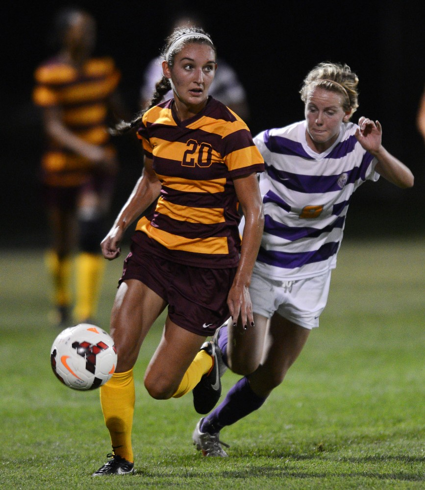 Minnesota's Becca Roberts steals the ball from Louisiana State at Elizabeth Lyle Robbie Stadium on Friday, Sept. 6, 2013.