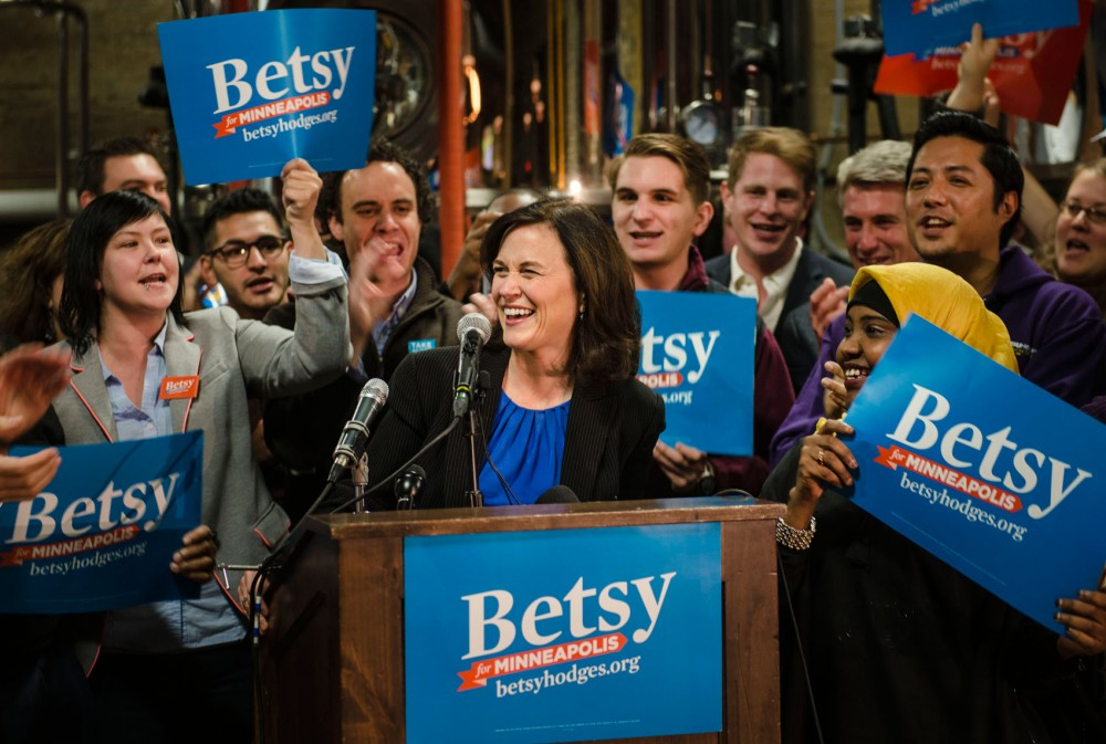 Frontrunner mayoral candidate Betsy Hodges speaks to supporters at 612 Brew in Northeast.