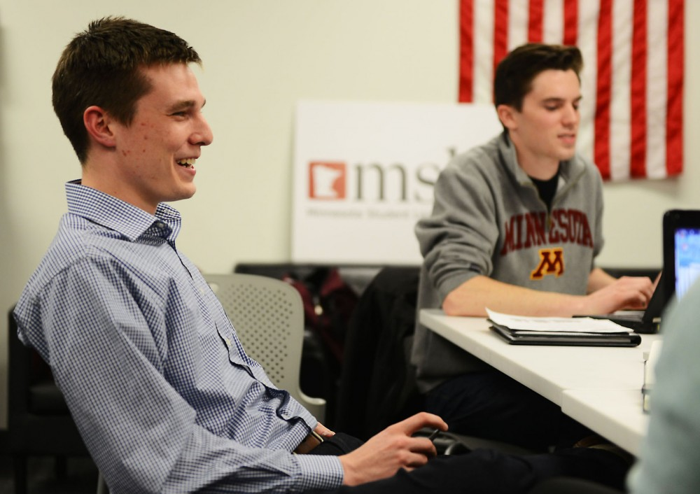 University student Matt Forstie discusses campus safety during a Minnesota Student Association executive board meeting Wednesday, Nov. 13, 2013. Forstie is entering his fourth year in MSA and is the only current member to have been involved with student government for four years.