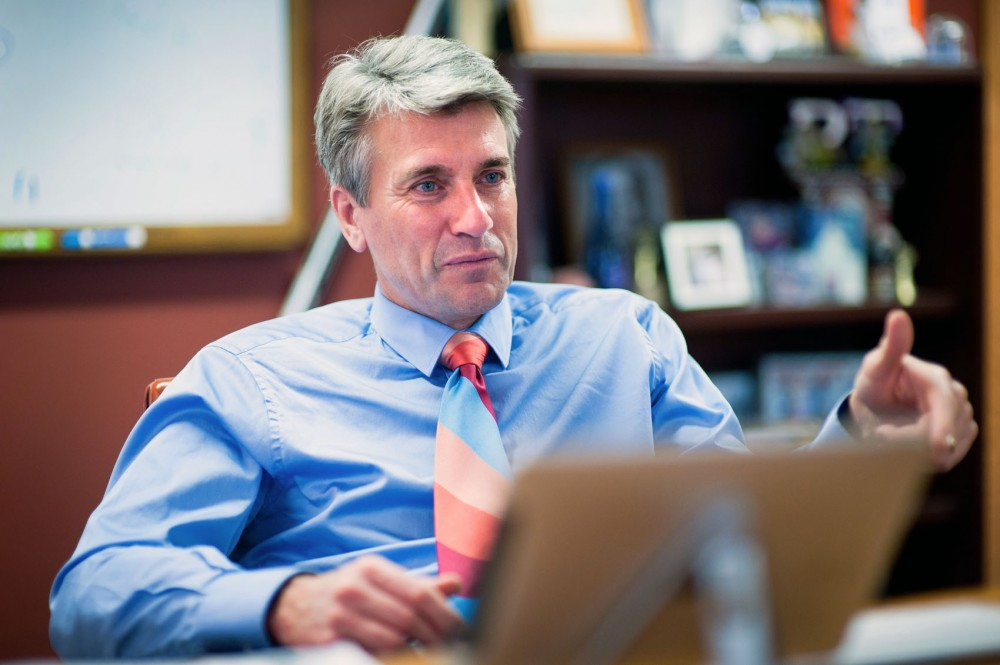 Minneapolis Mayor R.T. Rybak talks about his involvement with the University of Minnesota at City Hall on Nov. 10, 2011.