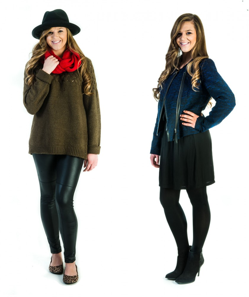 Left: The black and brown make sense together when paired with leopard print flats. Right: Navy and black are no longer taboo when the proportions are correct.