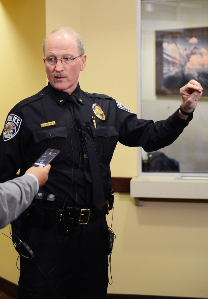 University police Chief Greg Hestness addresses questions and concerns on Wednesday at UMPD regarding the gunman incident on on Monday.