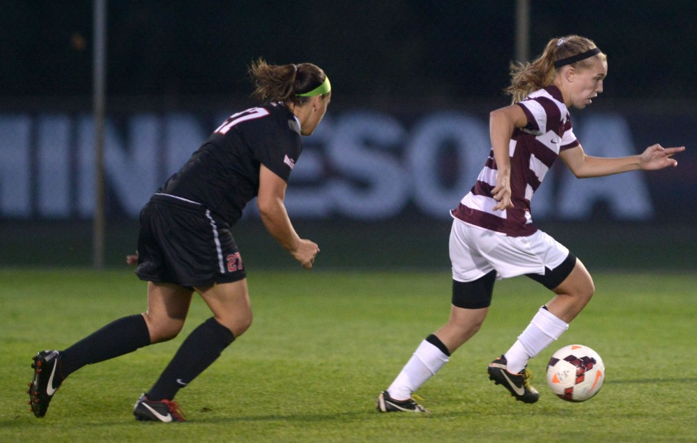 Minnesota midfielder Katie Thyken steals the ball from Illinois State on Friday, Aug. 30, 2013, at Elizabeth Lyle Robbie Stadium.