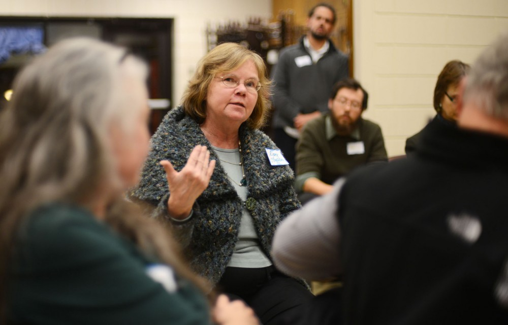 Minnesota State Representative Diane Loeffler speaks at the Southeast Como Improvement Association's annual meeting on Wednesday. The meeting focused on issues related to public safety and keeping neighbors informed about crimes.