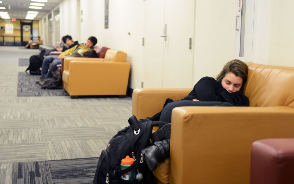 Sophomore Lucienne Nagel takes a nap Thursday in the basement of Coffman Union.