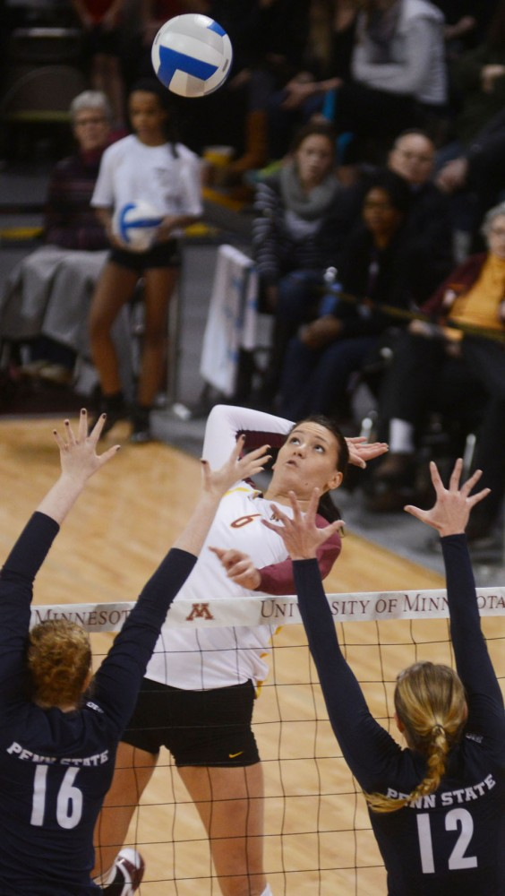 Gophers middle blocker Tori Dixon prepares to spike the ball against Penn State on Saturday at the Sports Pavilion.
