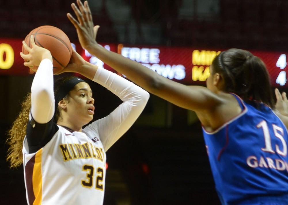 Minnesota center Amanda Zahui B. looks to pass against Kansas at Williams Arena on Wednesday night.