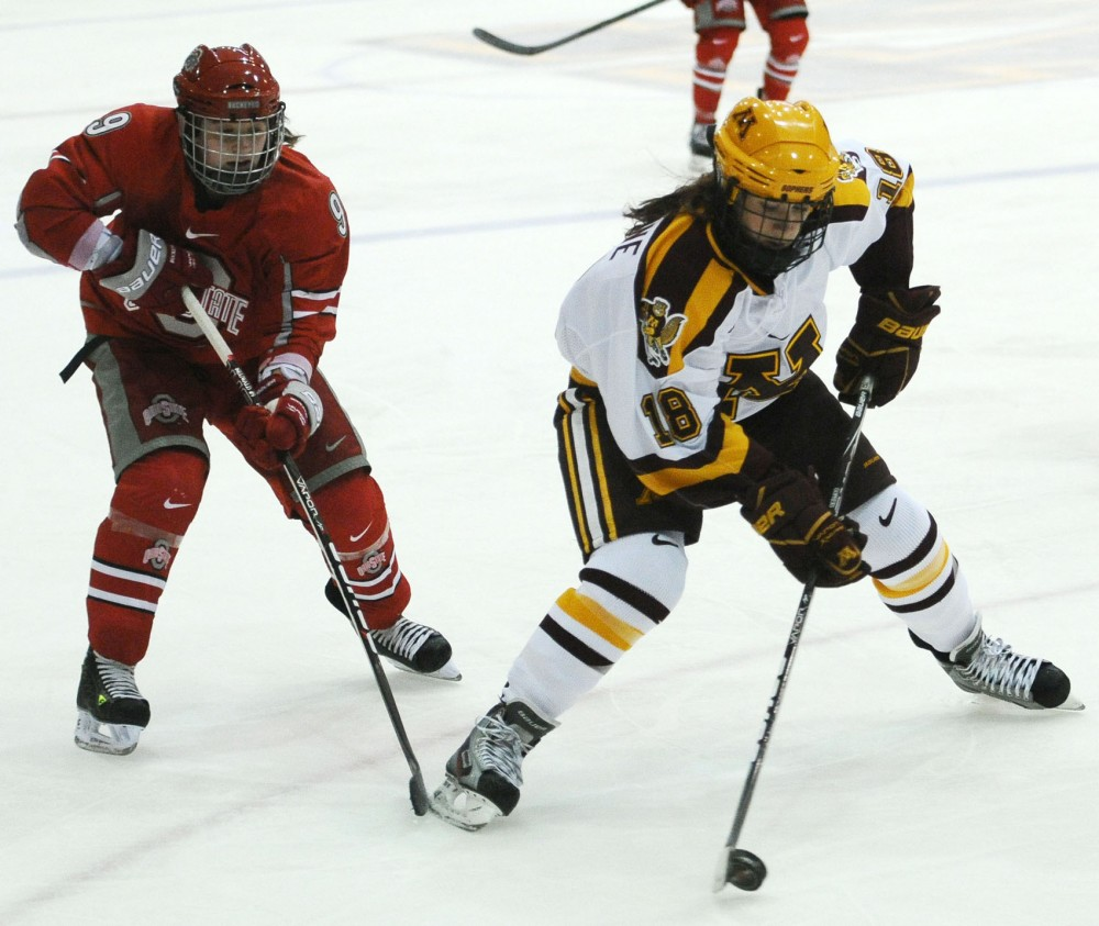 Minnesota forward Brook Garzone plays against Ohio State on Saturday, Oct. 20, 2012, at Ridder Arena.
