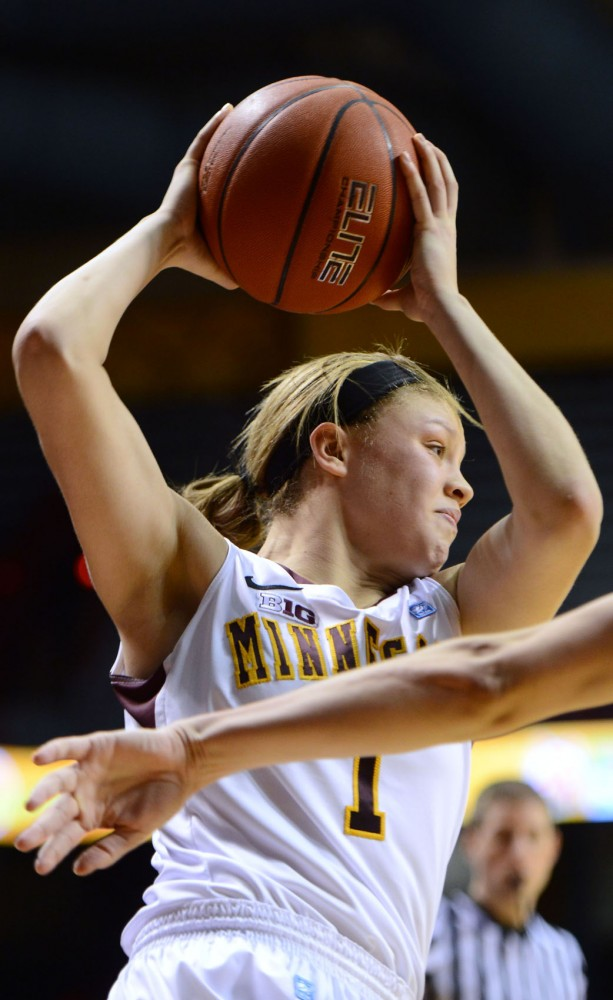 Minnesota guard Rachel Banham looks to pass against Purdue on Sunday, Feb. 24, 2013, at Williams Arena.