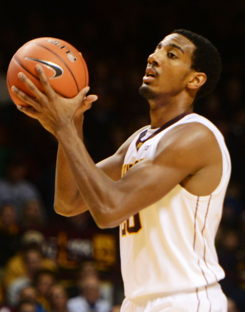 Gopher's Austin Hollins plays against South Dakota State at Williams Arena on Tuesday night. Gophers won 75-59.