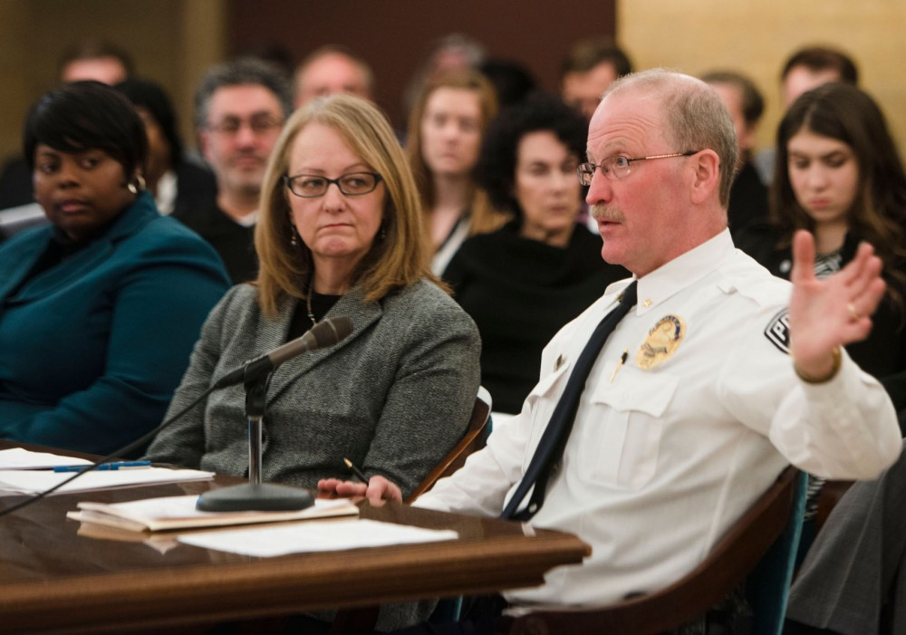 University police Chief Greg Hestness testifies at a Minnesota Senate higher education committee meeting about metro campus safety at the state Capitol on Tuesday, Dec. 10, 2013.