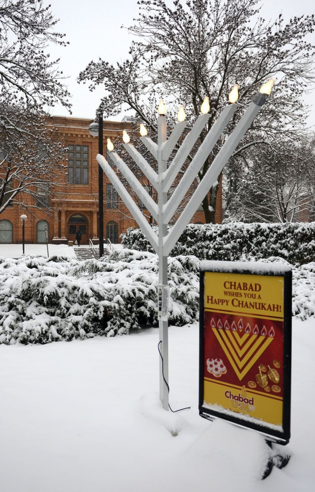 A menorah, placed by Jewish student group Chabad, sits at the Knoll area Wednesday.