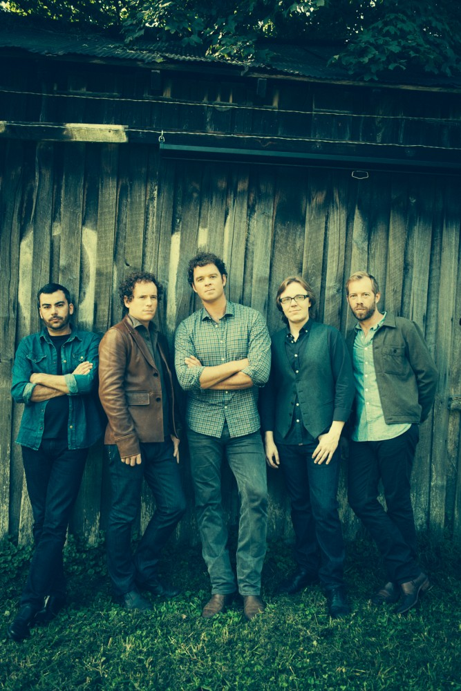 The founding band members of Steep Canyon Rangers were friends during their college days before starting a band. Nicky Sanders (second from right) joined the band with his fiddle in 2004 and they recently brought on a longtime friend, Michael Ashworth (not pictured), as a permanent member to play percussion.