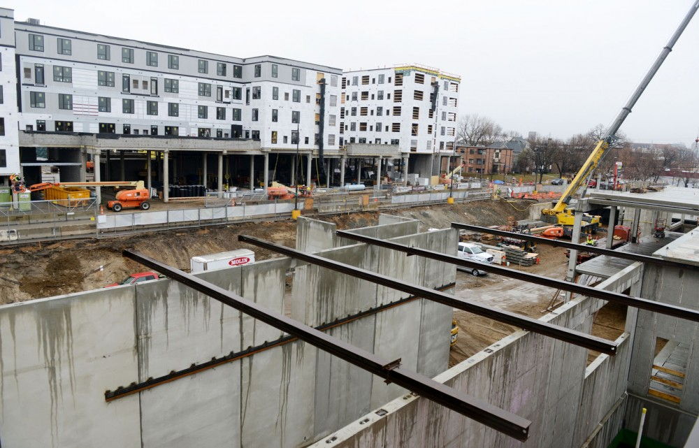 A view of the Marshall and the Venue at the Dinkytown construction sites, two new housing locations on SE 5th Street and 14th Avenue SE.