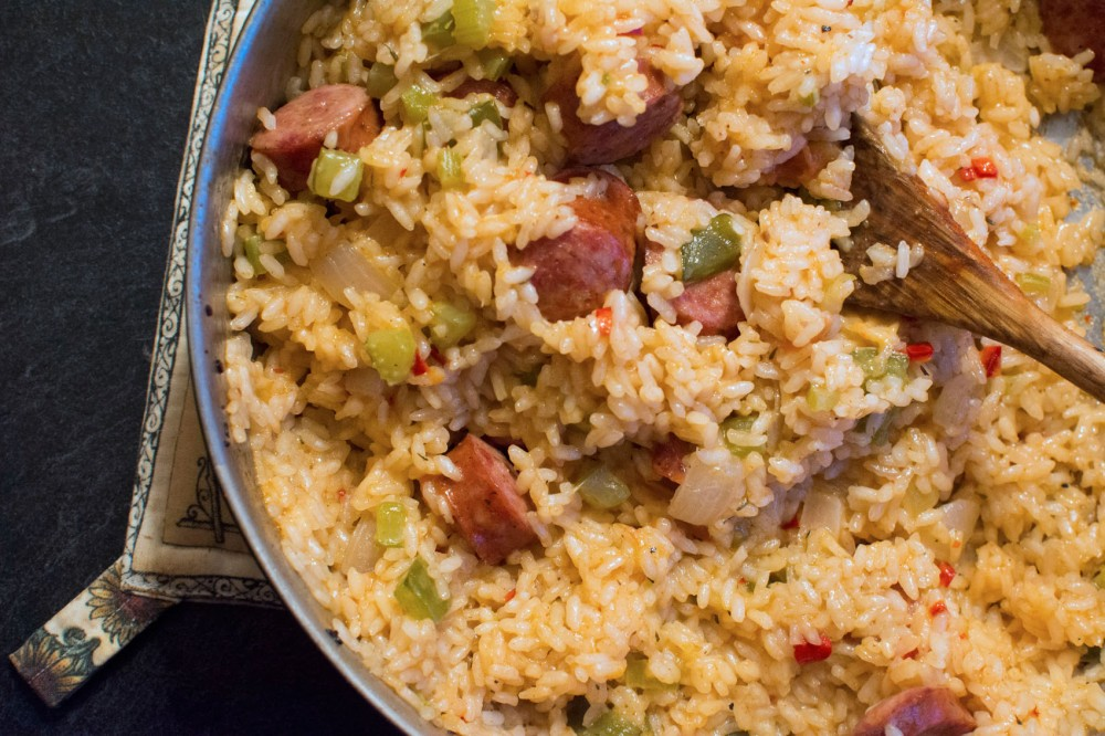 A spicy jambalaya with Andouille sausages.