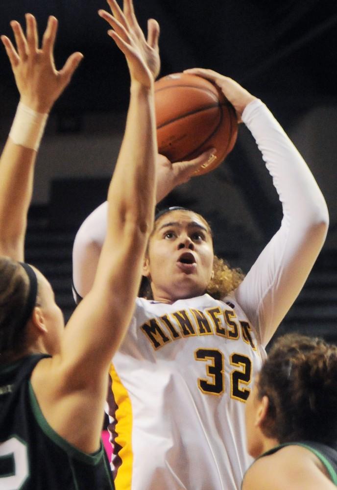 Minnesota center Amanda Zahui B. shoots against North Dakota at Williams Arena on Sunday.