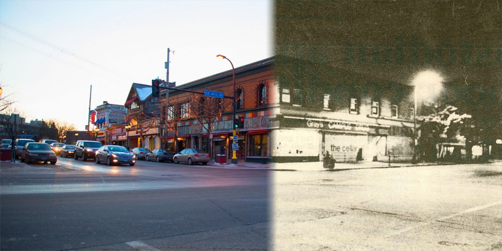 Then and Now:  Bustling streets and busy storefronts line the once busy 14th street in Dinkytown.  File photo by Dilip Vishwanat.