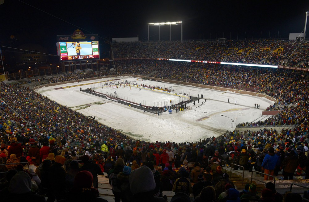 The men's 2014 Hockey City Classic game against the Buckeyes broke the attendance record of about 45,000 people at TCF Bank Stadium on Friday.