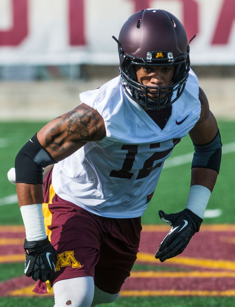 Gophers wide receiver Andre McDonald runs routes at practice Aug. 2 at the Gibson-Nagurski Football Complex.