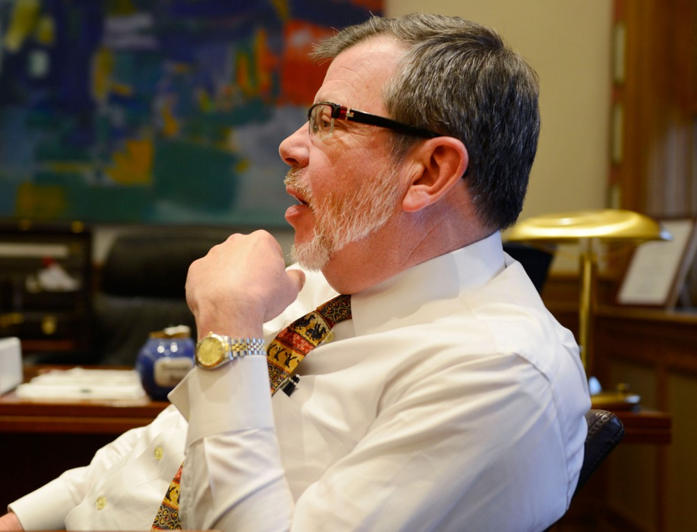 University President Eric Kaler discusses upcoming changes at the University and reviews recent happenings in his Morrill Hall office Friday.
