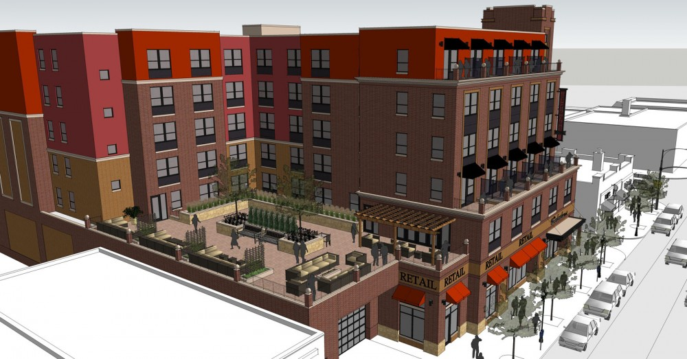 A rendering of the proposed hotel that would be located between 13th and 14th Ave on 4th street in Dinkytown.