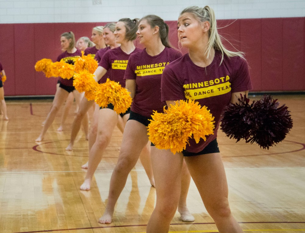 The University of Minnesota dance team practices Thursday in Bierman Field Athletic Building.