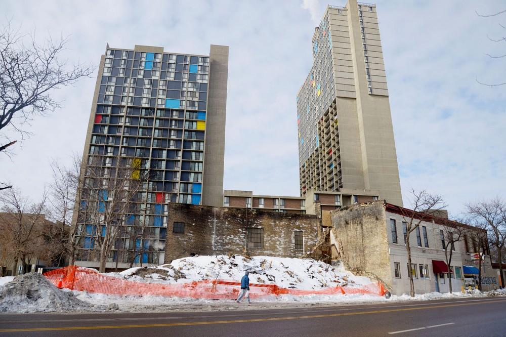 Demolished rubble lies where the Cedar-Riverside building burned on Jan. 1 in Minneapolis, Minn.