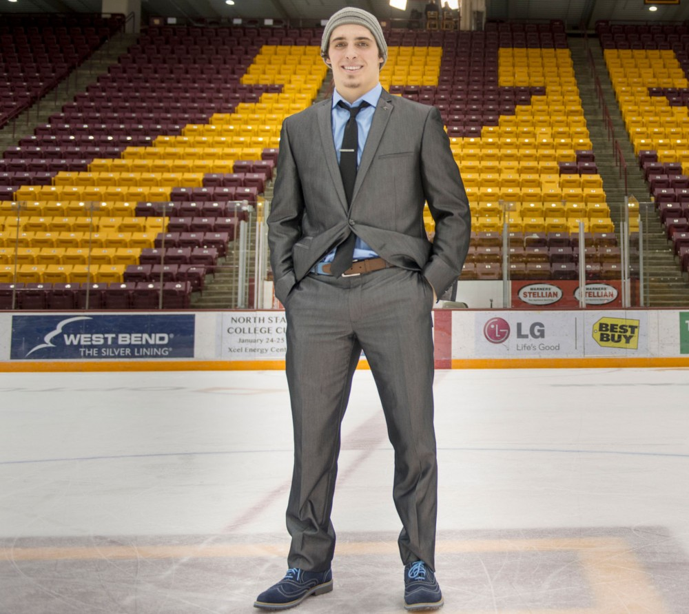 Freshman forward on the University of Minnesota men's hockey team Vinni Lettieri on the ice of Mariucci Arena after the victory over Michigan, Saturday night.