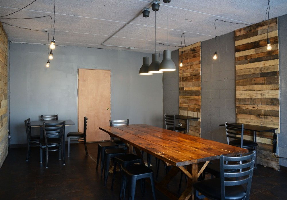A completely remodeled and refurbished space in Black: Coffee and Waffles, formerly Muddsuckers, located on the corner of Como Avenue and 15th Street. Black is in the process of fully rebranding.