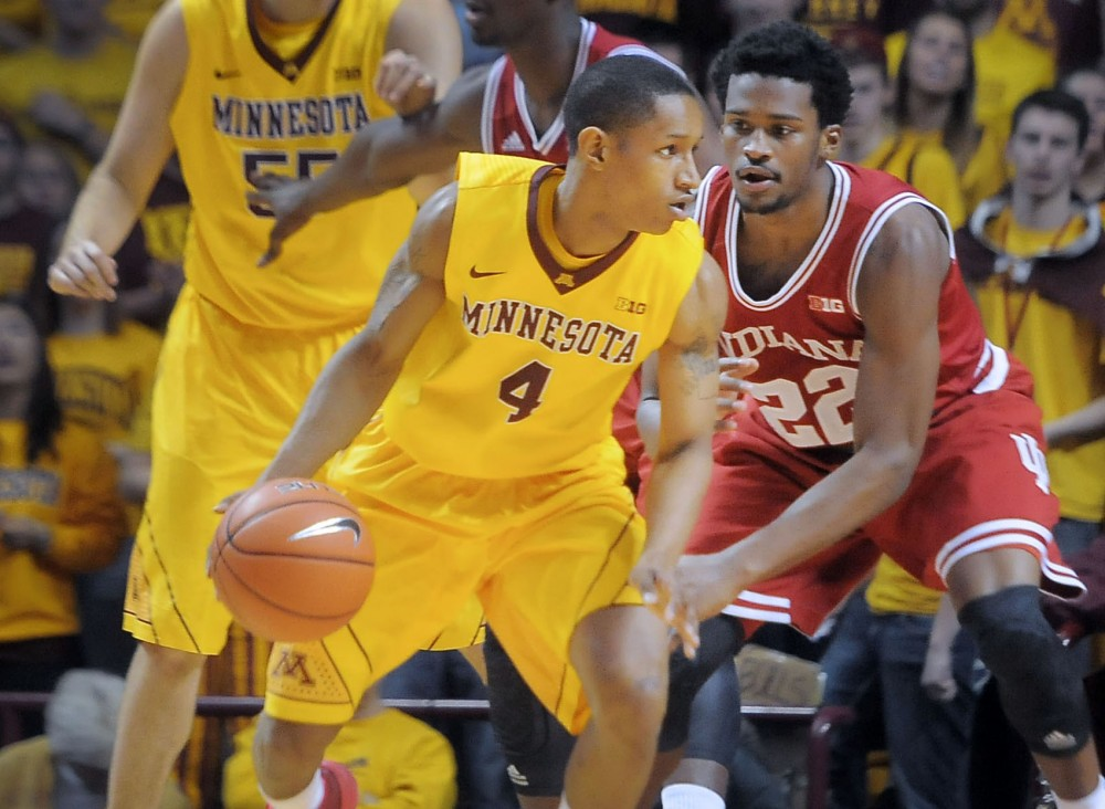 Minnesota junior guard DeAndre Mathieu protects the ball against Indiana, Saturday at Williams Arena. Minnesota won, 66-60.